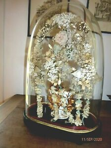Globe-de-mariee-ancien-Socle-bois-Verre-Napoleon-III-mariage-weeding-dome-Fleurs