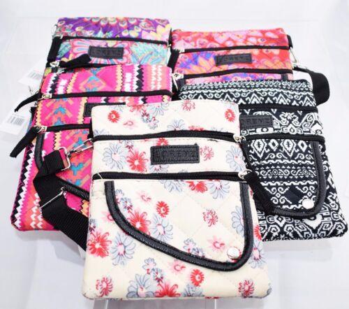 Ladies Women Teen Floral Style Cross Across body Shoulder Messenger Bag Zipped