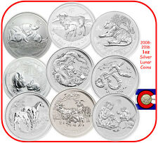 2008-2016 Australia Silver 1oz Lunar Coin Set, Series II, Mouse-Monkey