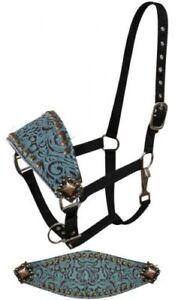 Western Saddle Horse Bronc Halter Black Nylon w/ Turquoise Leather Nose Band