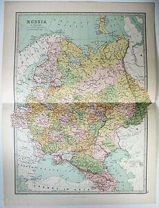 Tsarist Russia Map.Original 1875 Map Of Tsarist Russia By J Bartholomew Ebay