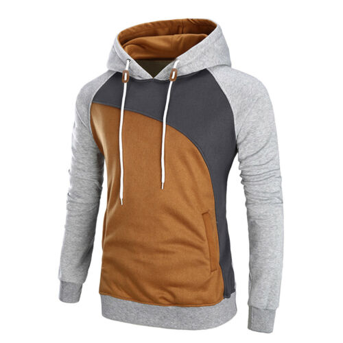 Men Warm Hoodie Long Sleeve Patchwork Coat Jacket Outwear Overcoat Sweatshirt
