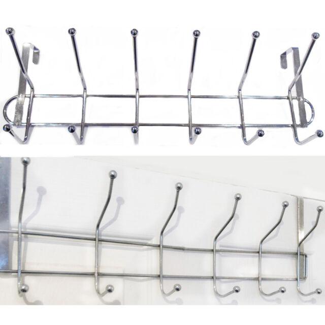LARGE 12 Hooks Over Door Rail Metal Hanger Drawer Clothes Kitchen Storage Rack