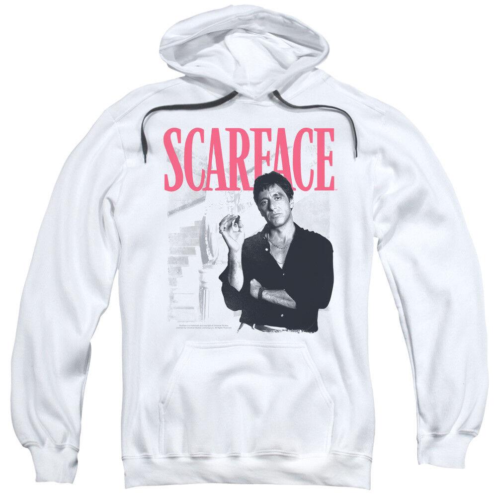 Scarface Movie Tony Montana Al Pacino STAIRWAY MIAMI Weiß Hoodie in SM - 2XL