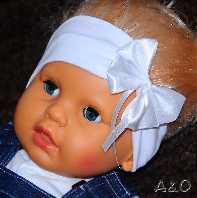 Baby Unparteiisch Baby & Kinder Stirnband Mädchen 6m-3j Haarband Kopfband Weiß Schleife Taufe Neu