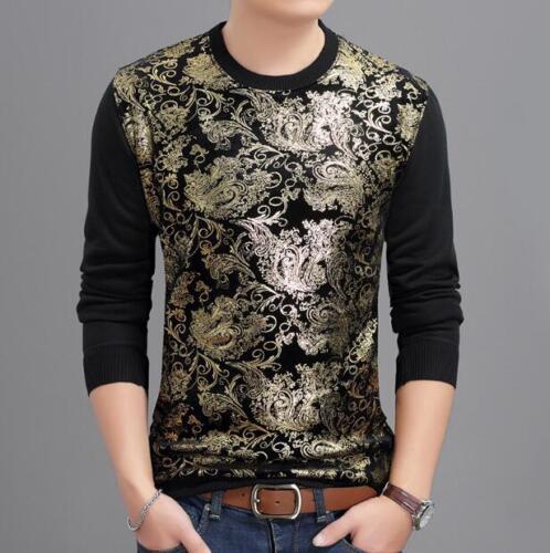 Homme Col V Floral Imprimé Splice Slim à manches longues Casual Tops shirt S Ths01