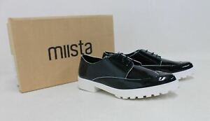 MIISTA-Miley-Ladies-Dark-Green-Patent-Faux-Leather-Lace-Up-Shoes-UK6-EU39-NEW