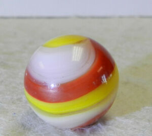 #11009m Vintage Akro Agate Red and Yellow Popeye Marble .64 Inches