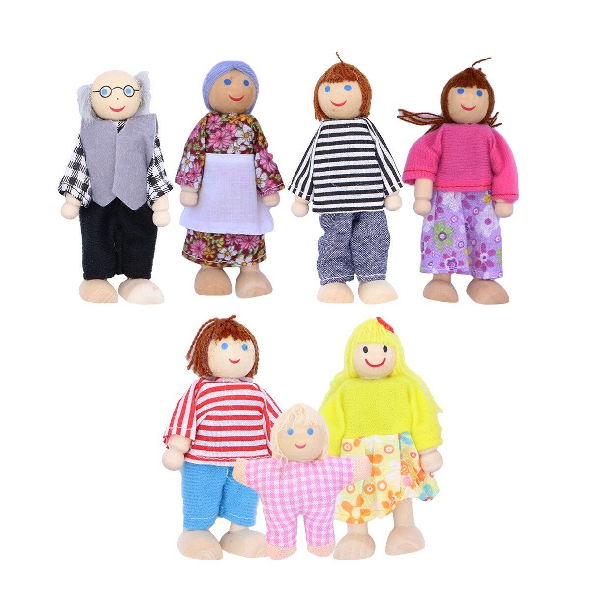 Wooden Furniture Dolls House Family Miniature 7 People Doll Kids Children Toys 3