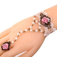 Bronze Jewelry Gothic Lace Pink Rose Flower Bracelet Slave chain Pearl Ring
