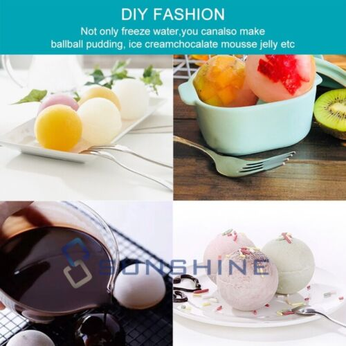 """2/"""" Large Round Silicone Ice Cube Ball Maker Tray Sphere Molds Bar Whiskey+Funnel"""