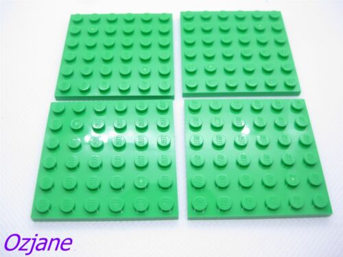 LEGO PART 3958 BRIGHT GREEN PLATE 6 X 6 FOR 4 PIECES NEW
