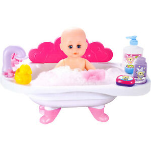 NEW BABY DOLL IN BATH TUB SOUND ACCESSORIES PRETEND ROLE PLAY TOY GIRLS GIFT