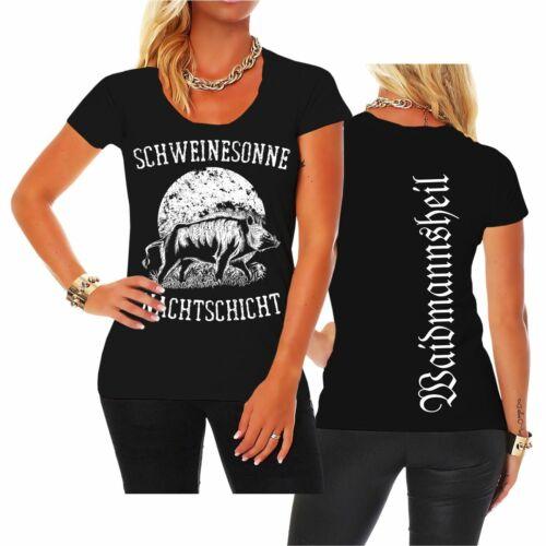 Frauen Damen T-Shirt Schweinesonne Jäger Jagd Keiler Wildschwein Jagen Bache Sau