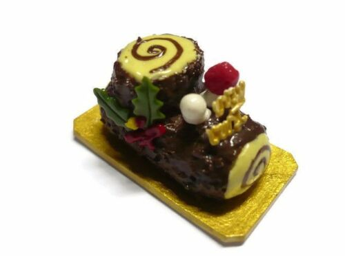 Christmas Roll Log Cakes Dollhouse Miniatures Food Deco Holiday Season Xmas 1