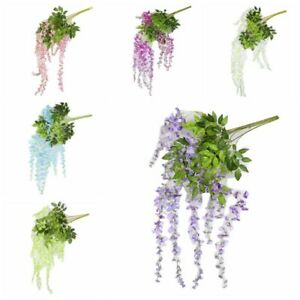 1x Faux Plants Wisteria Vine Hanging Silk Flowers Wedding Party