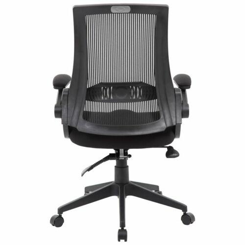 Boss Office Mesh Swivel Flip Arm Office Chair in Black