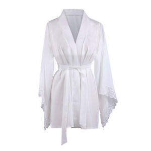 3455e99e0aed Image is loading Womens-White-Robe-Kimono-Dress-Gown-Lingerie-Nightgown-