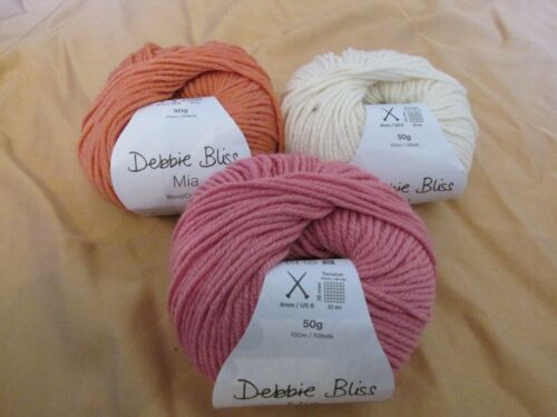 New Debbie Bliss Mia Wool//Cotton Yarn Skein 50g//109yd Multiple Colors Available