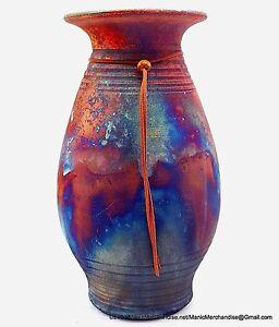 "Raku Studio Art Pottery Vase Straight Rim Etched Circles Copper Blues Signed 12"""
