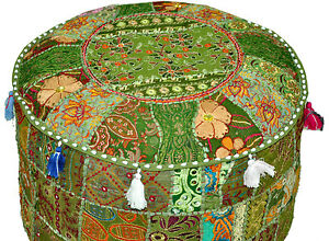Fine Details About Green Bohemian Pouf Ottoman Embroidered Footstool Banjara Furniture Indian Pouf Lamtechconsult Wood Chair Design Ideas Lamtechconsultcom