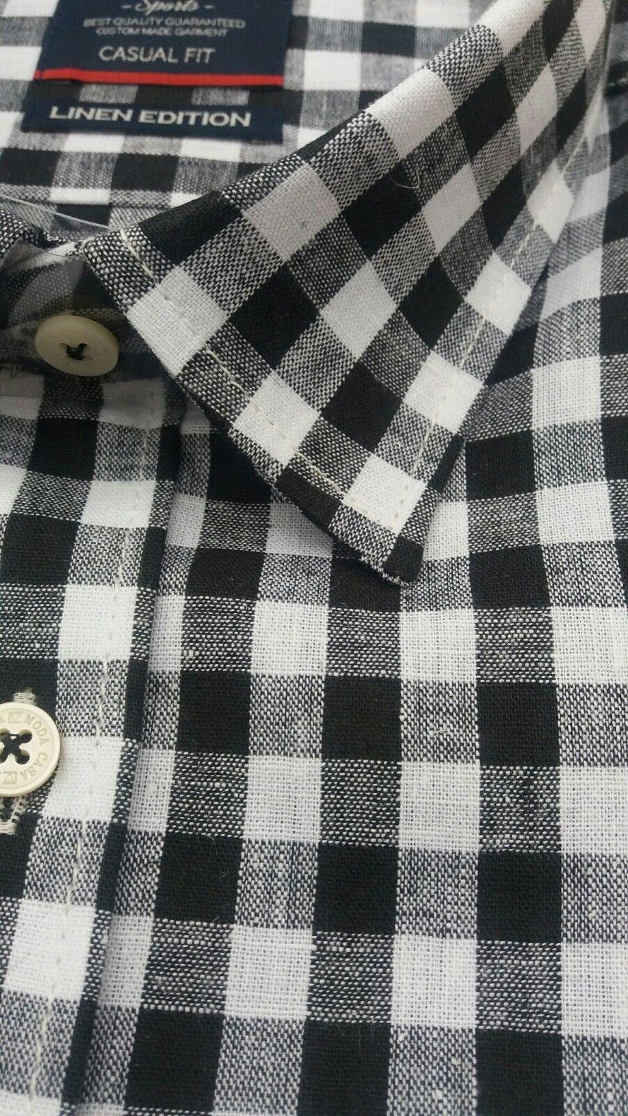 CASA Moda Nero Bianco Controllare Manica Corta Camicia Camicia Camicia 2XL 3073516 2xl 3XL4XL5XL6XL 7XL e12f5a