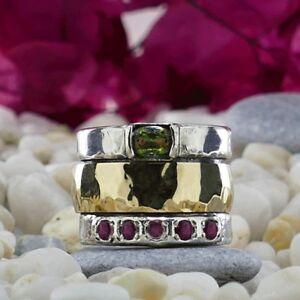 Spinner-9k-Yellow-Gold-Silver-0-95Ct-Green-amp-Pink-Tourmaline-Gemstones-Ring-Size