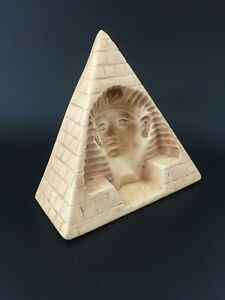 Plaster chalkware egyptian pyramid statue w reverse carved sphinx