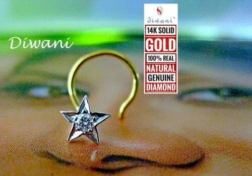 Natural Si Diamond 5 Point Star shape Nose Body Piercing Ring Stud Pin 14k Gold