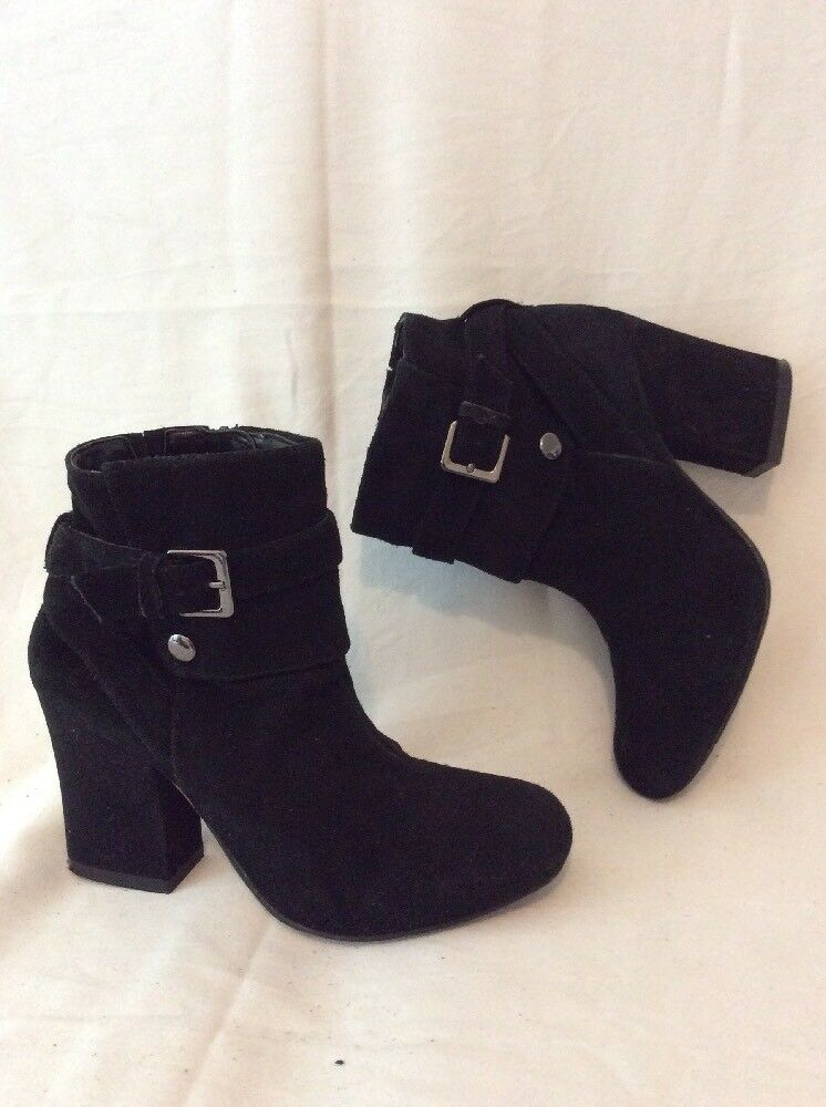 M&S Collection Black Ankle Suede Boots Size 3