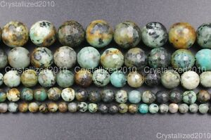 Natural-African-Turquoise-Gemstone-Faceted-Round-Beads-6mm-8mm-10mm-12mm-15-5-039-039