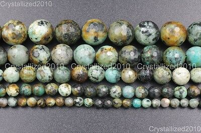 Natural African Turquoise Gemstone Faceted Round Beads 6mm 8mm 10mm 12mm 15.5''
