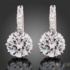 New Women's 18k White Gold Gp Clear Swarovski Crystal Zircon Cz Earrings