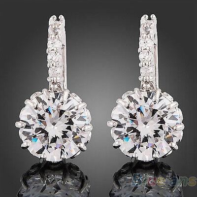 New Women's 18K White Gold Filled Gp Clear Swarovski Crystal Zircon Cz Earrings