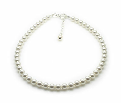 White Pearls Anklet Made With SWAROVSKI ELEMENTS .925 Sterling Silver 4mm