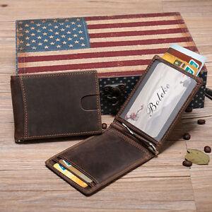 New-Genuine-Leather-Men-039-s-RFID-Slim-Credit-Card-Holder-Money-Clip-Brown-Wallet