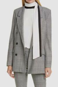 $852 Frame Womens Black Glen Plaid Double Breasted Classic Jacket Blazer Size L
