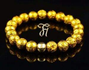 Lava-galvanisiert-925er-sterling-Silber-vergoldet-Armband-Perlenarmband-gold-8mm