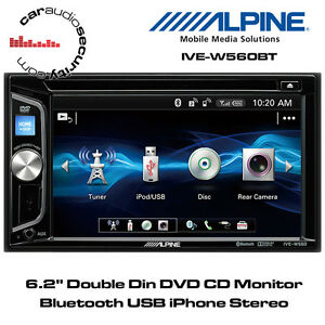 alpine ive w560bt 6 2 double din dvd cd monitor bluetooth usb iphone stereo ebay. Black Bedroom Furniture Sets. Home Design Ideas
