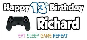 PS4-Controller-13th-Birthday-Banner-x-2-Party-Decorations-Boys-Girls-ANY-NAME