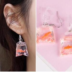 Image Is Loading Novelty Goldfish Water Bag Shape Dangle Hook Earrings