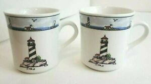 Two-2-Discontinued-TOTALLY-TODAY-Coastal-Lighthouse-Mugs-Cups-3-5-034-H