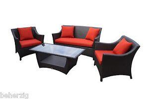 Rattan lounge set braun  Rattan Lounge Set braun aus Polyrattan Gartenmöbel Garnitur Sofa ...