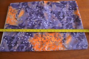 By-1-2-Yd-Stars-amp-Moons-on-Purple-amp-Orange-Quilting-Cotton-N400