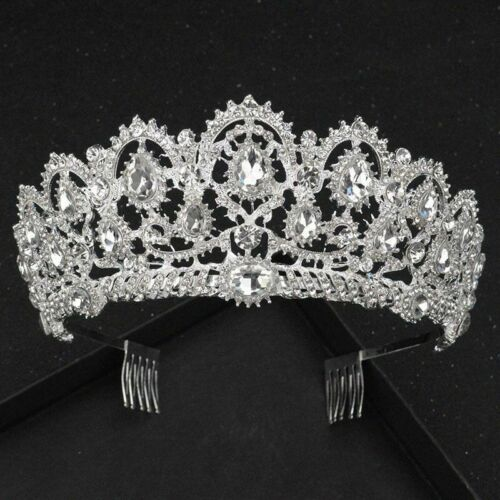 Details about  /Women Crown Tiara Luxury DIY Crystal Silver Headwear for Wedding Party Pageant