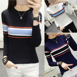 Women-Crew-Neck-Pullover-Jumper-Stripe-Slim-Fit-Knitted-Sweater-Shirt-Blouse-Top