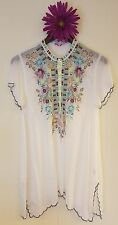 JWC m medium white LIVANA TUNIC blouse silk JWLA Johnny Was nwt new collection