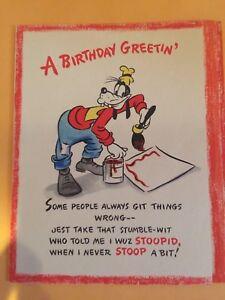 Image Is Loading Disney Goofy Vintage Birthday Card From Hallmark 1946