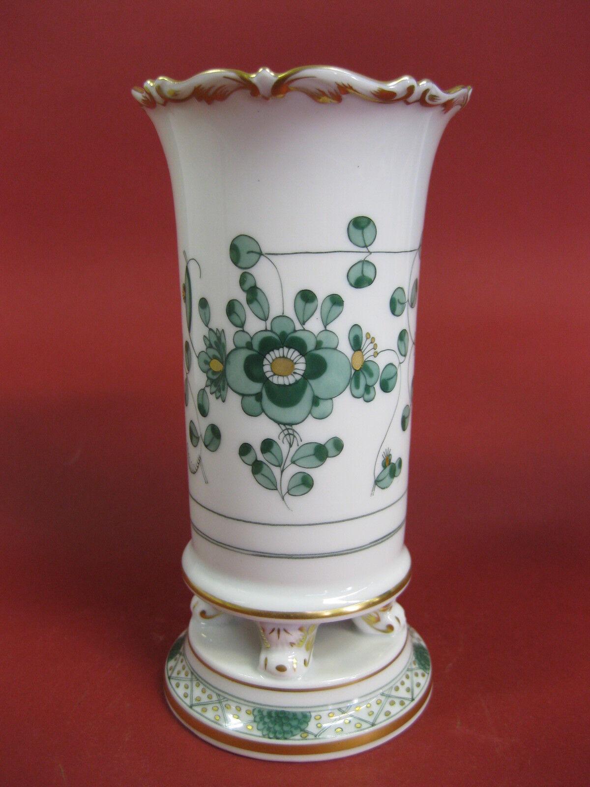 Meissen indien vert vase füsschenvase avec pieds hauteur  15 cm indien peinture