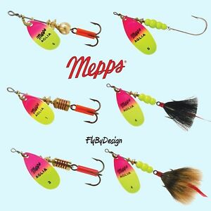 - Hot Green//Chartreuse /& Hot Pink//Chartreuse Mepps  Aglia Spinner 1//3 oz 2
